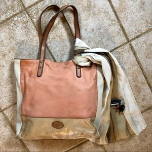 Fossil Leather Color Block Tote